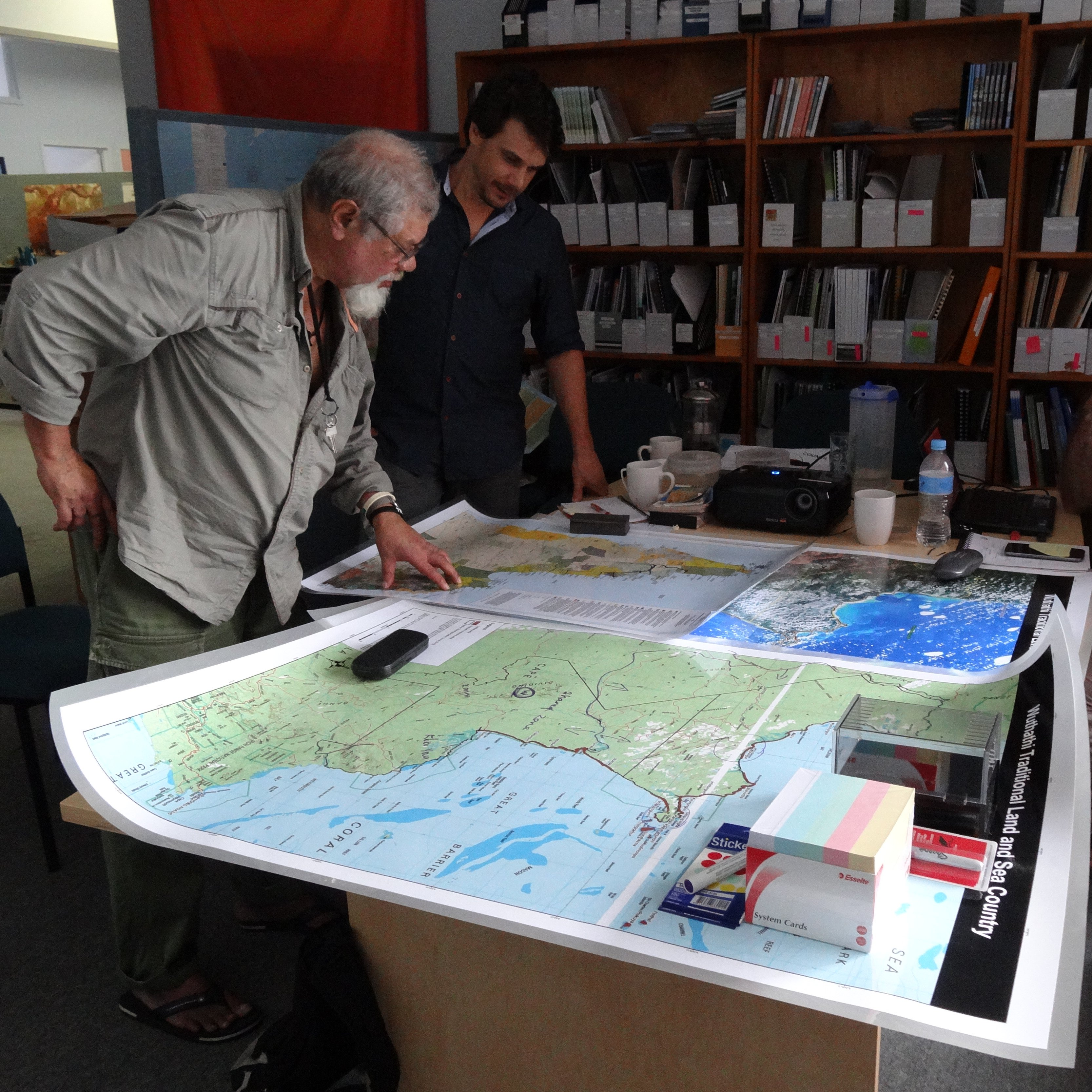 Wuthathi (Jim Wallace), the Australian Conservation Foundation (Andrew Picone) and our maps at work, Cairns 2013